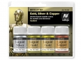 Vallejo Metallic Set 70199 Gold, Silver & Copper (4x35ml)